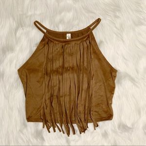 Fringe Embellished Crop Top